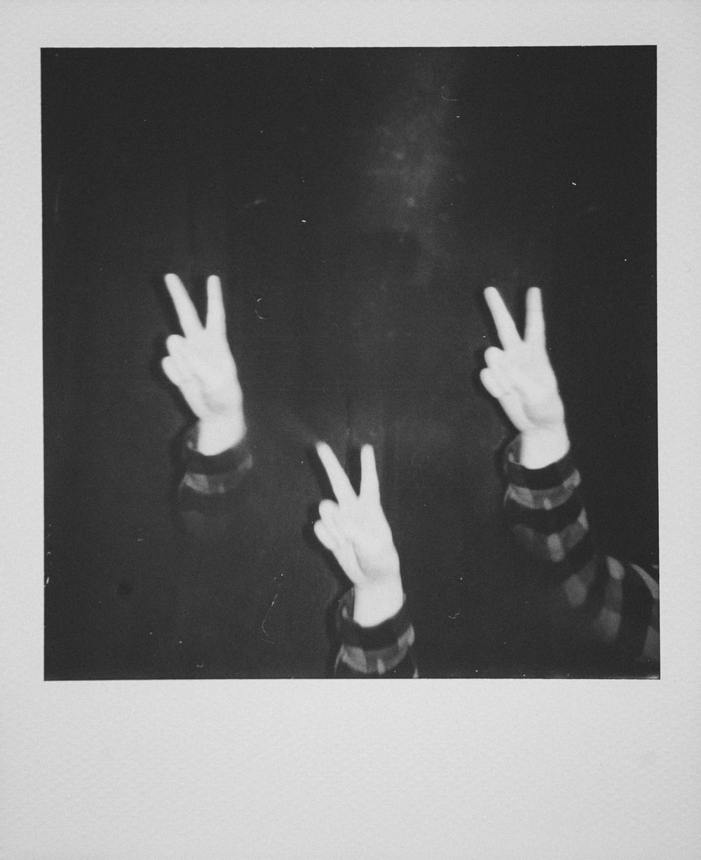 three peace sign instant photo frame