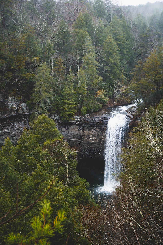 waterfalls cascading down rock wall in woods