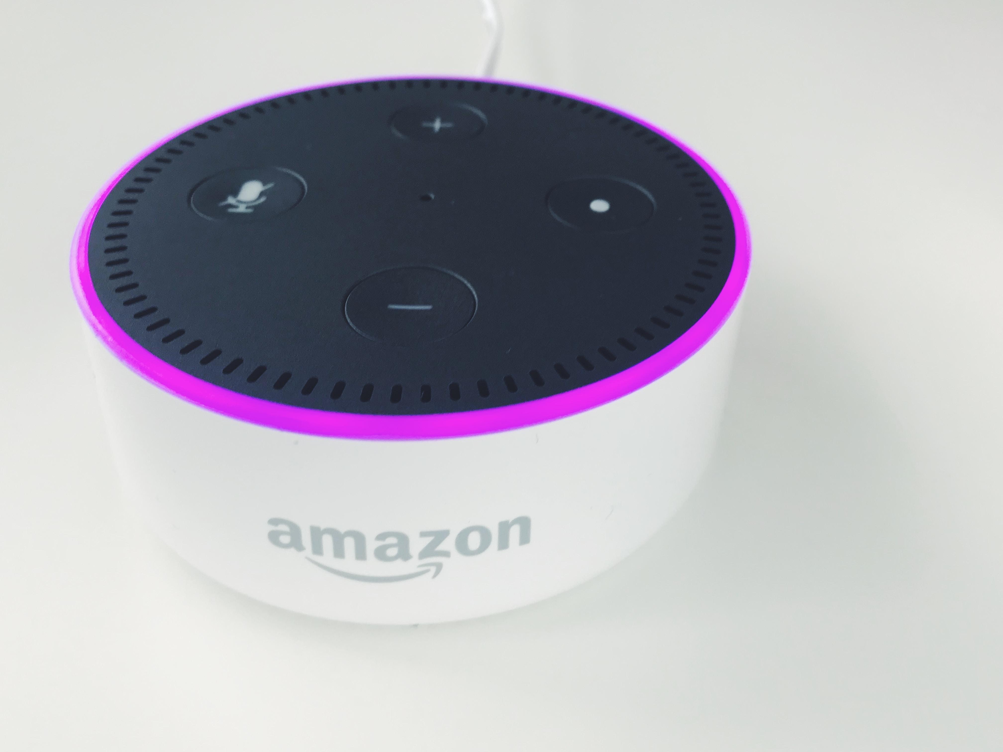 round black and white Amazon Echo Dot