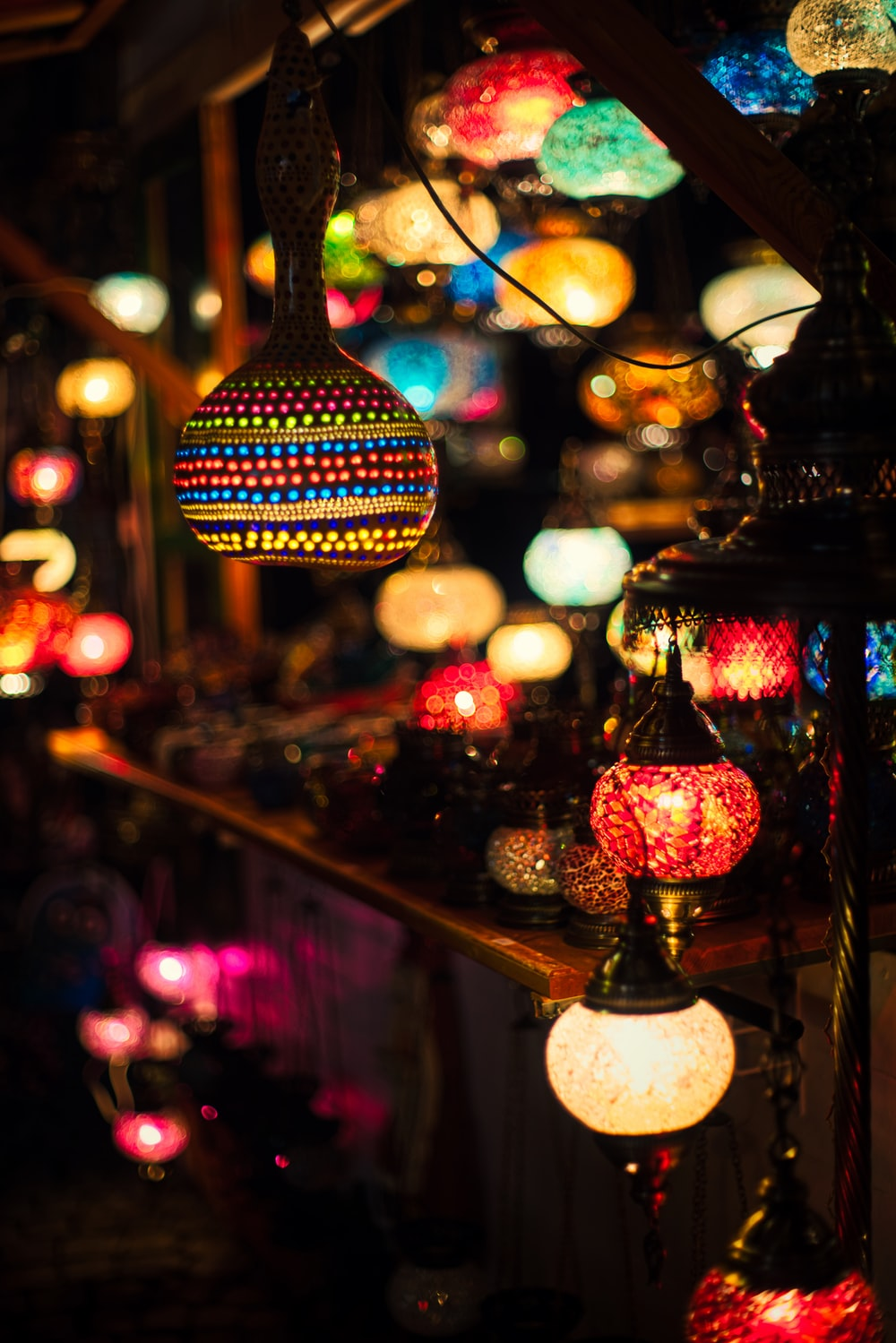 lighted lanterns at night