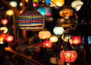 lighted lanterns at night