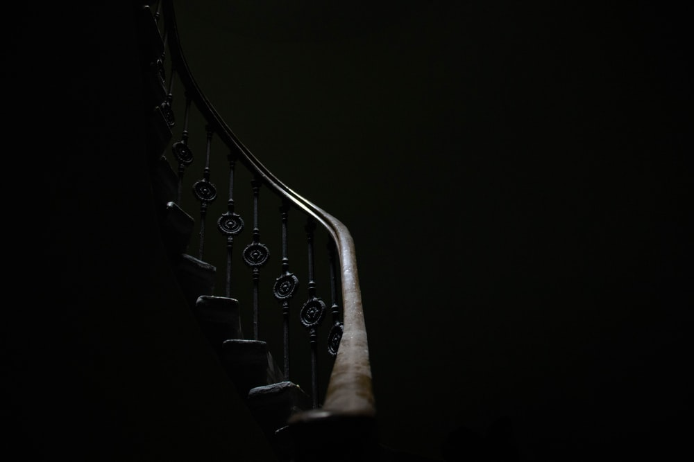 brown stair railings