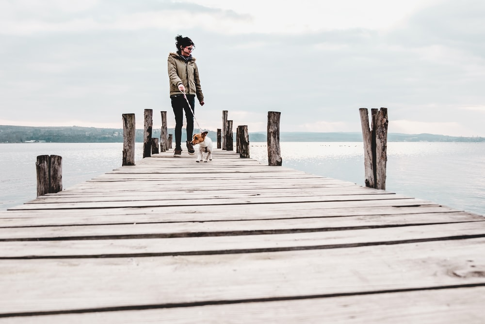 woman and dog on boardwalk