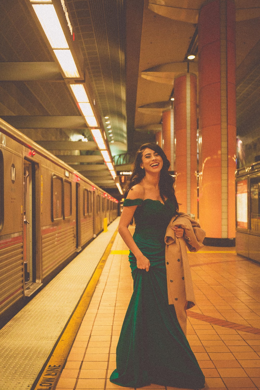 women's green off-shoulder floor length dress