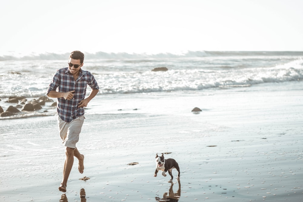man wearing brown and white plaid dress shirt running on seashore