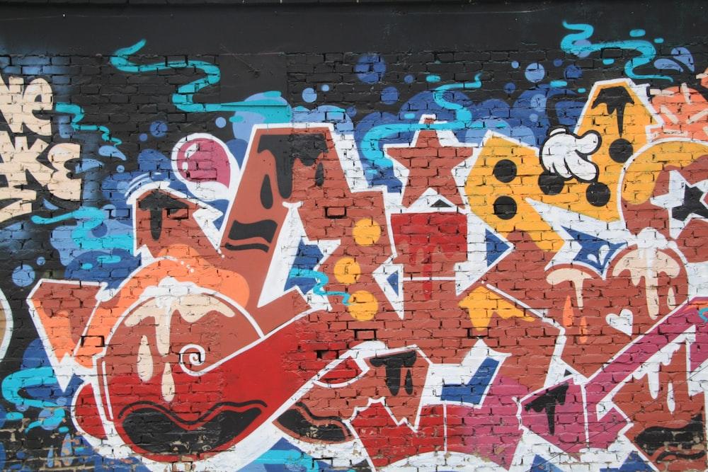 yellow, red, and blue graffiti