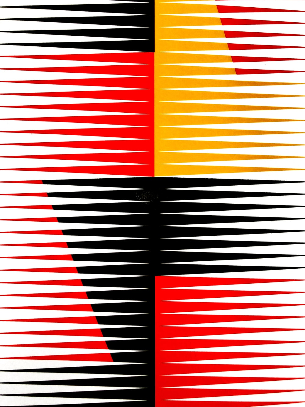 red, black, and yellow artwork