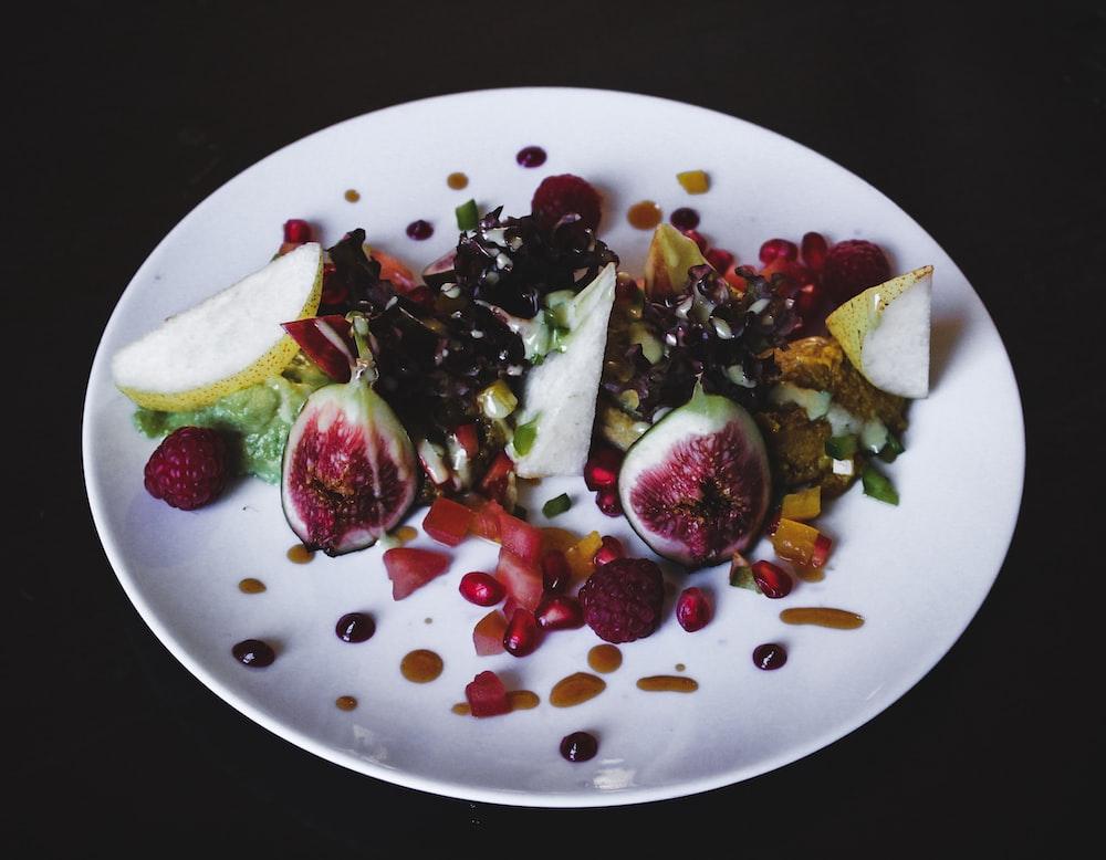 fruit slices on white ceramic plate