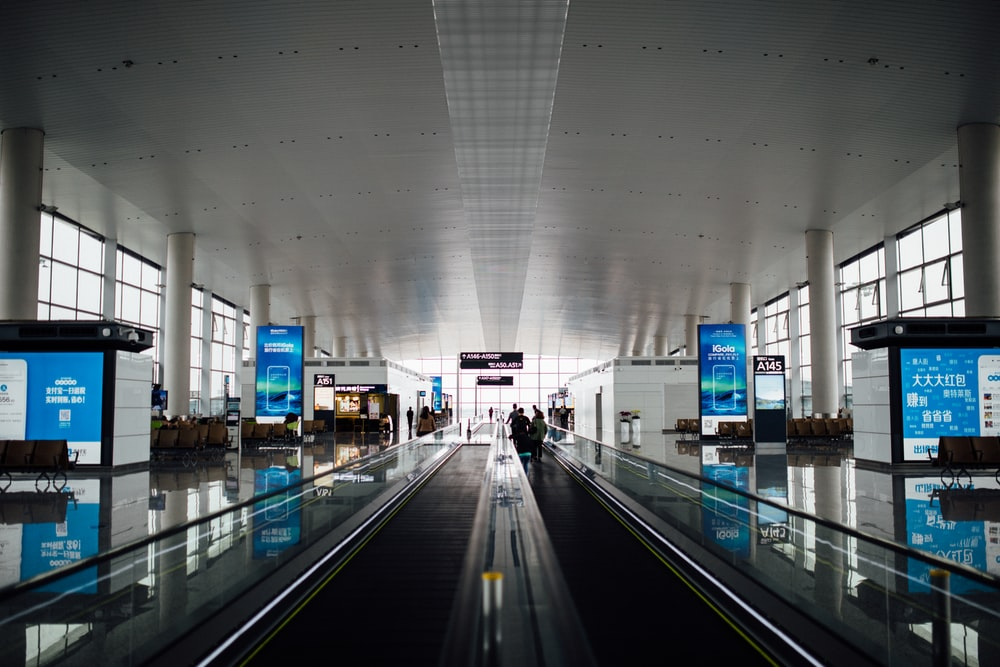 black airport aisle
