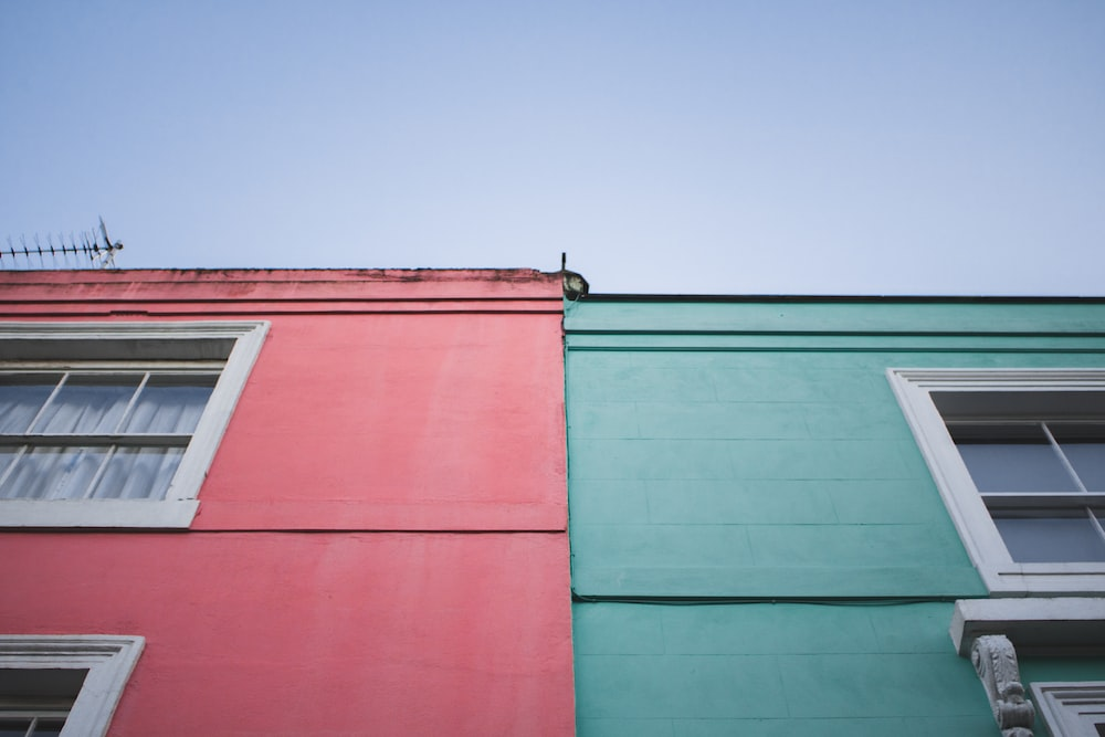 red and green concrete buildings