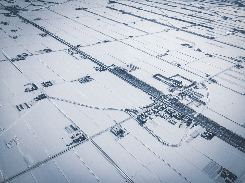 aerial photography of city with snow