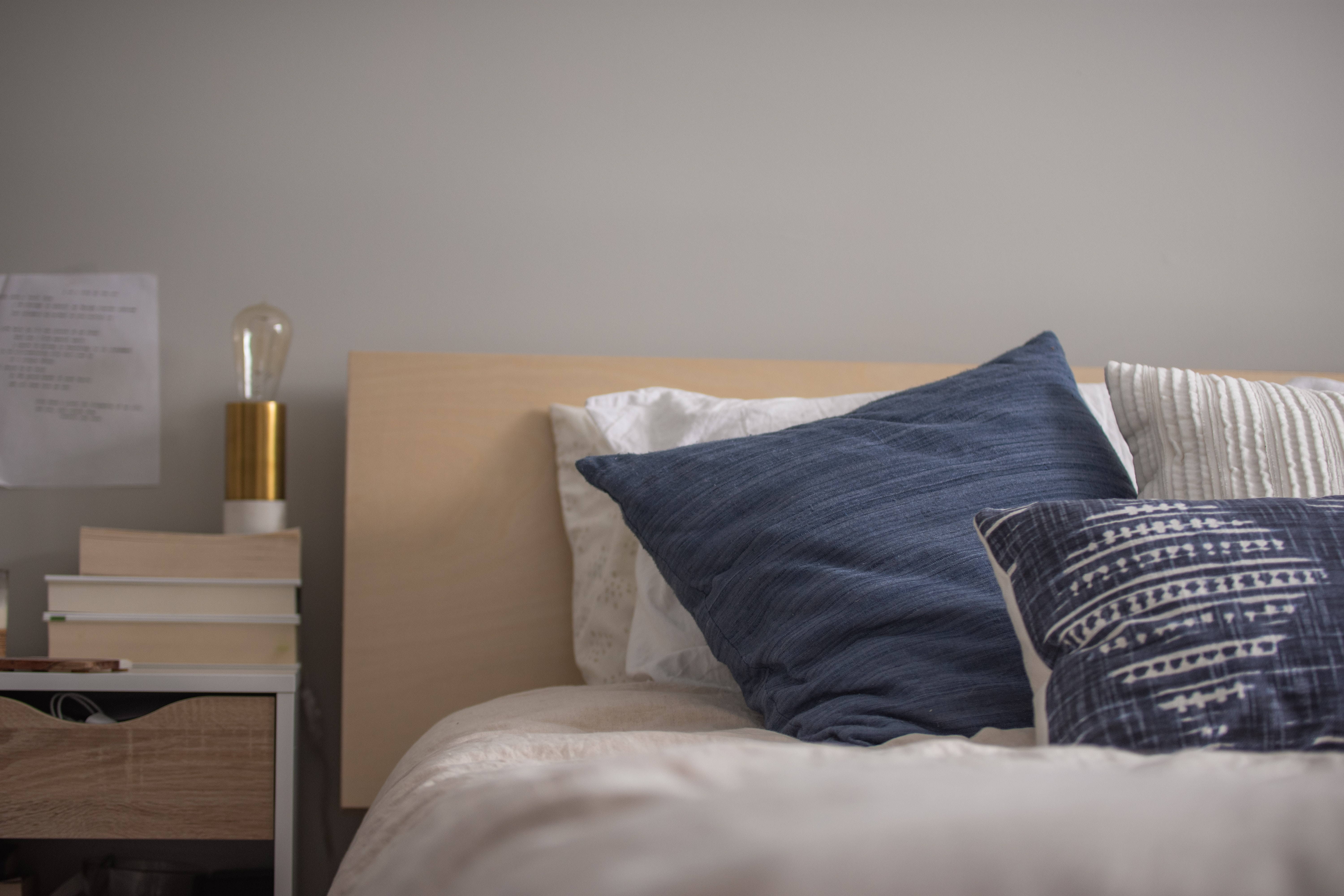 pillows on bed inside house