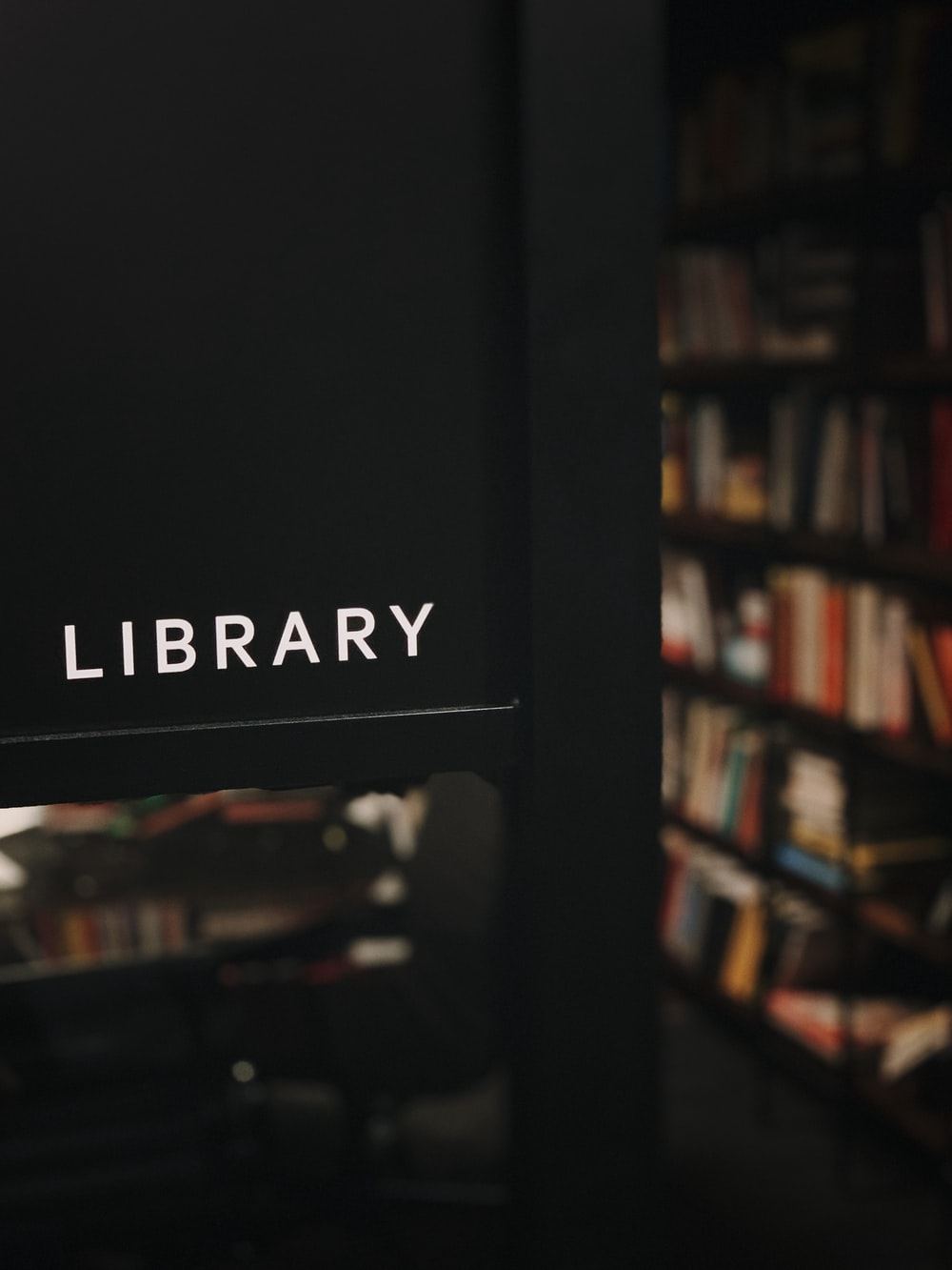 Library wooden sign