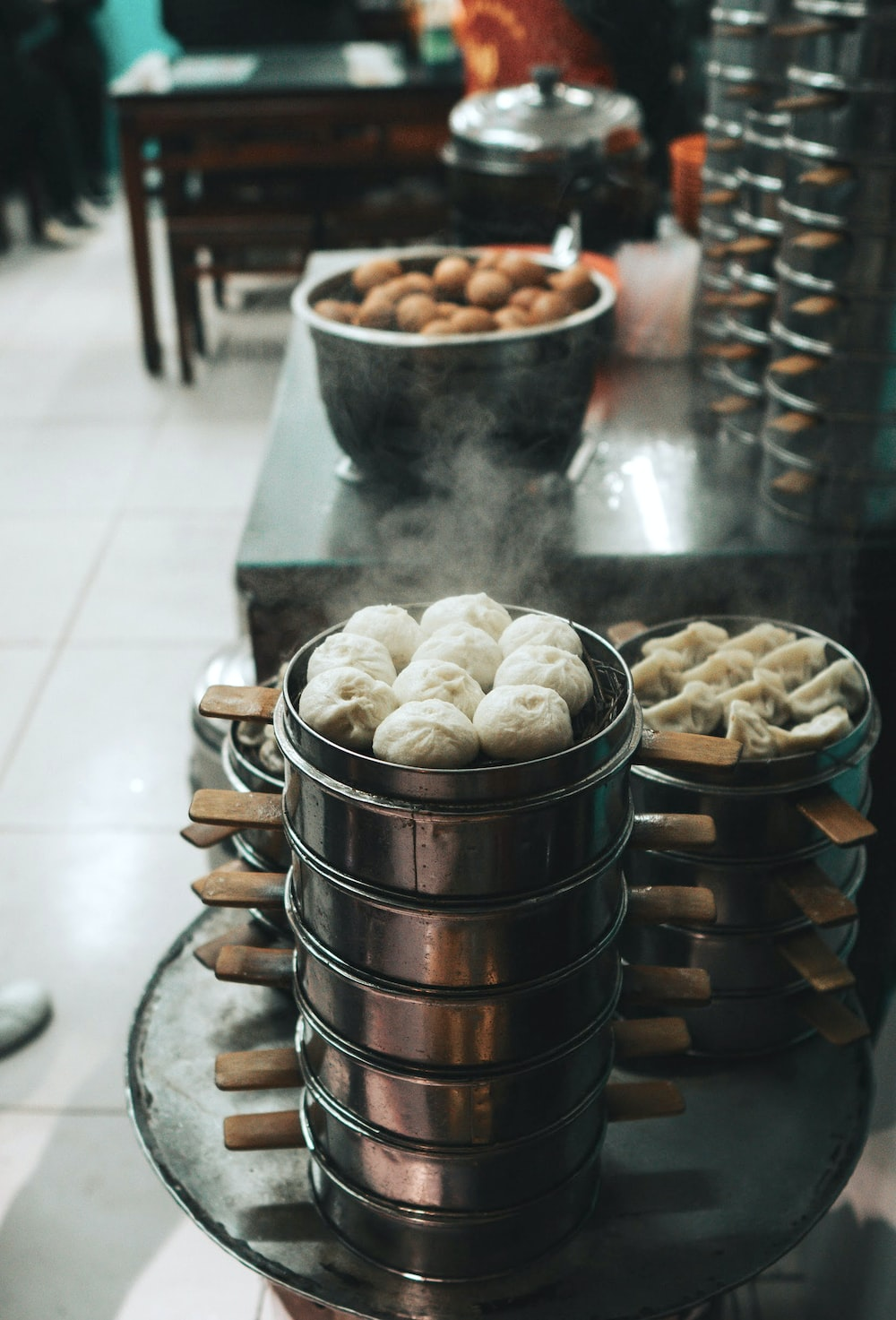 steamed food in bowls