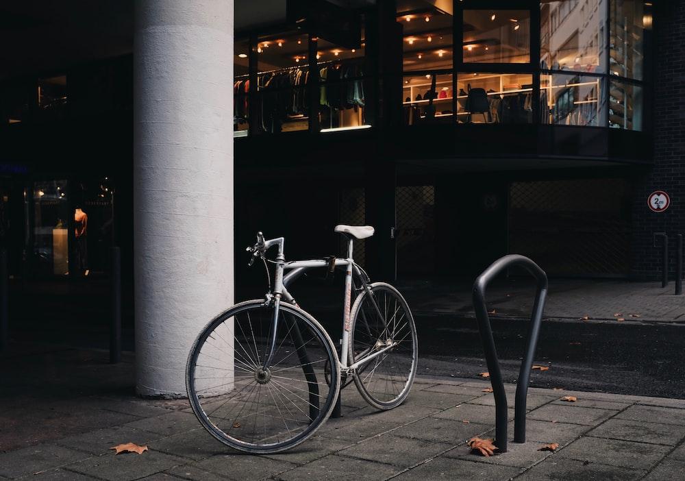 parked grey bike
