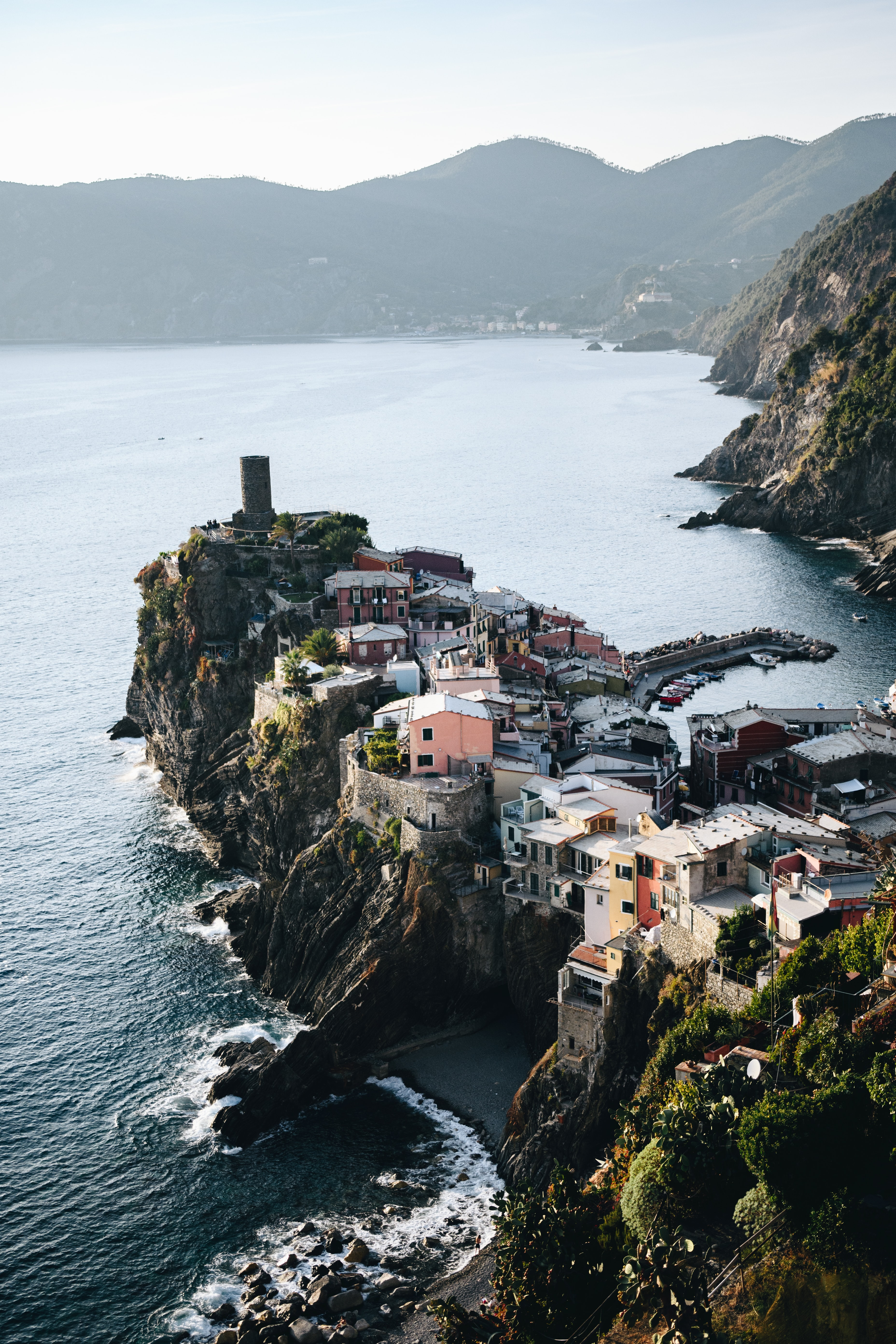 aerial view photography of village on cliff