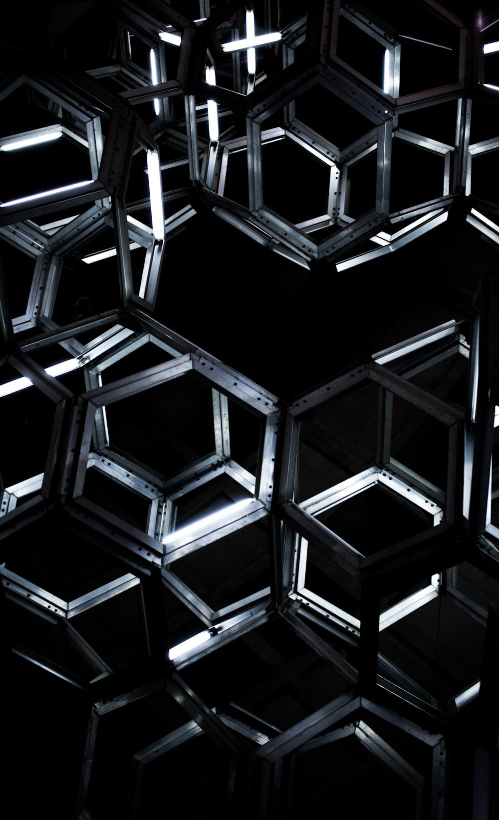 geometric black metal hanging decor