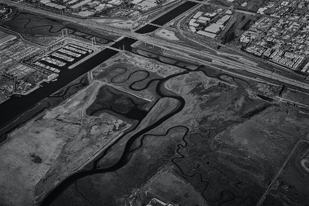 grayscale aerial photo of land