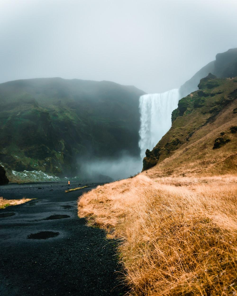 waterfalls close-up photography