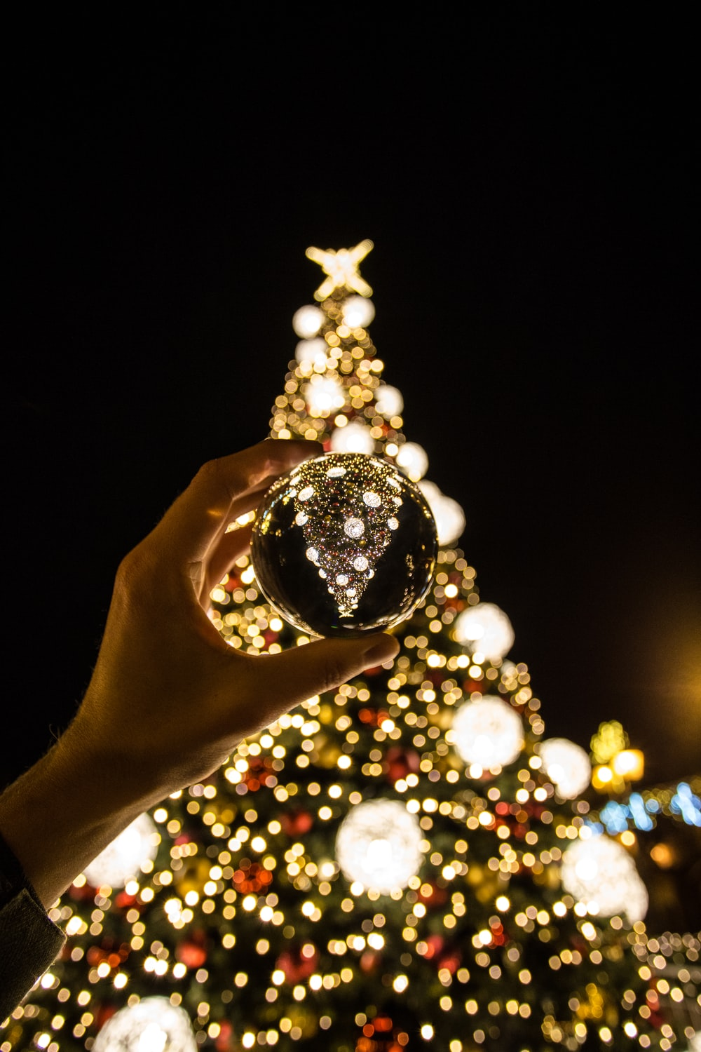 person lifting bauble near Christmas tree