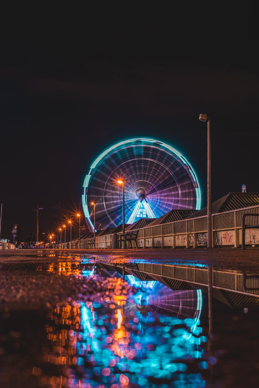 lighted up ferris wheel