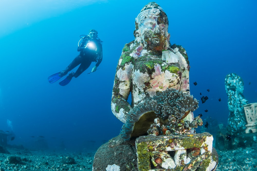 diver diving on ocean floor near statue