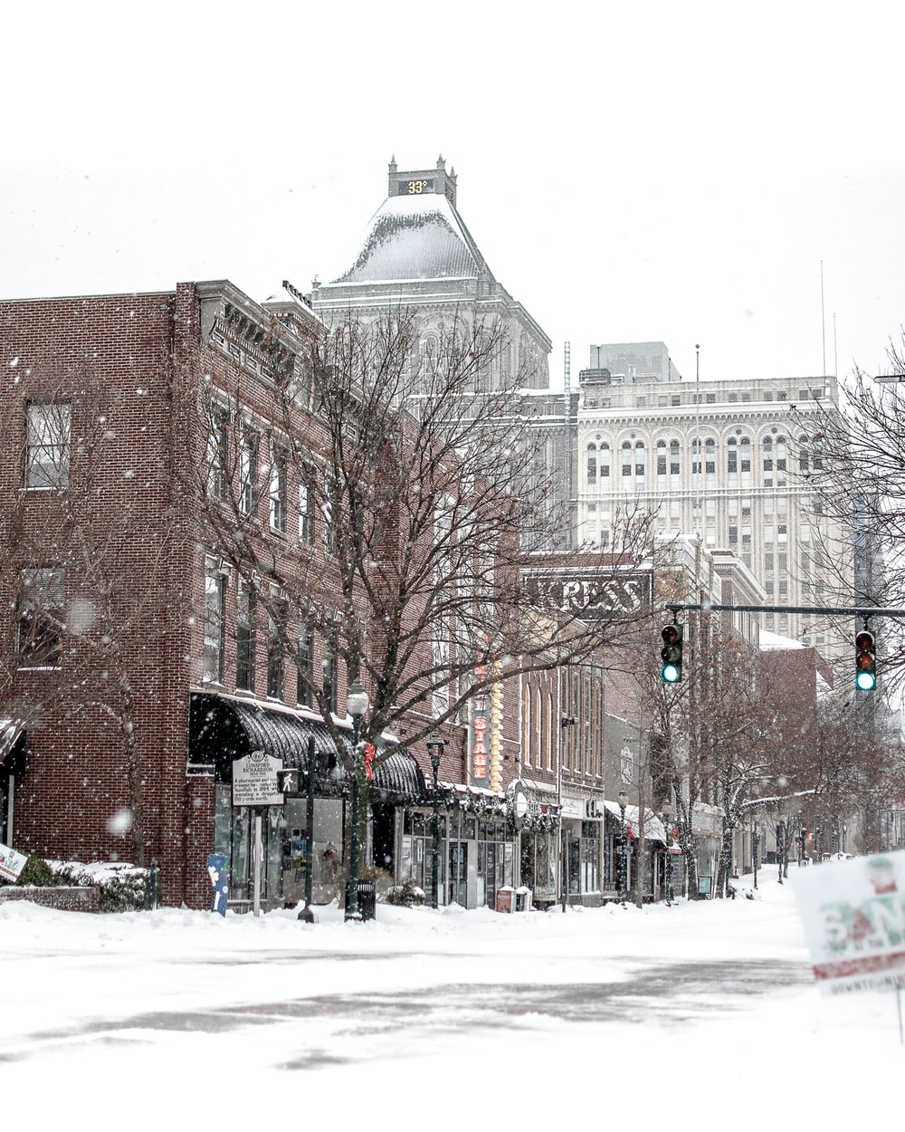 city covered in snow at daytime