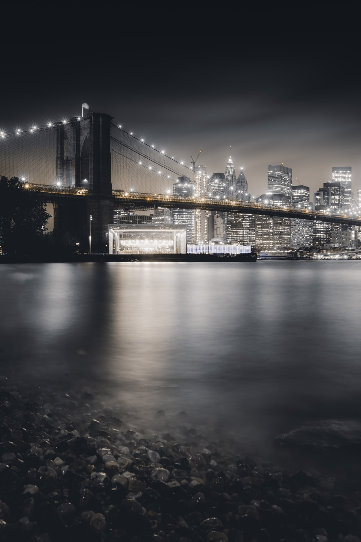 Brooklyn Bridge at nighttime in skyline photography