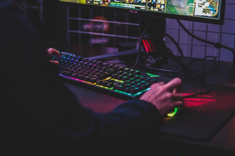 person using desktop computer