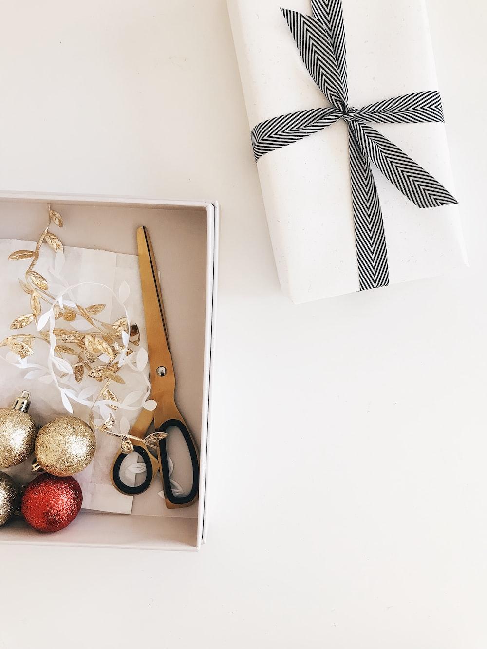 black scissors on the box