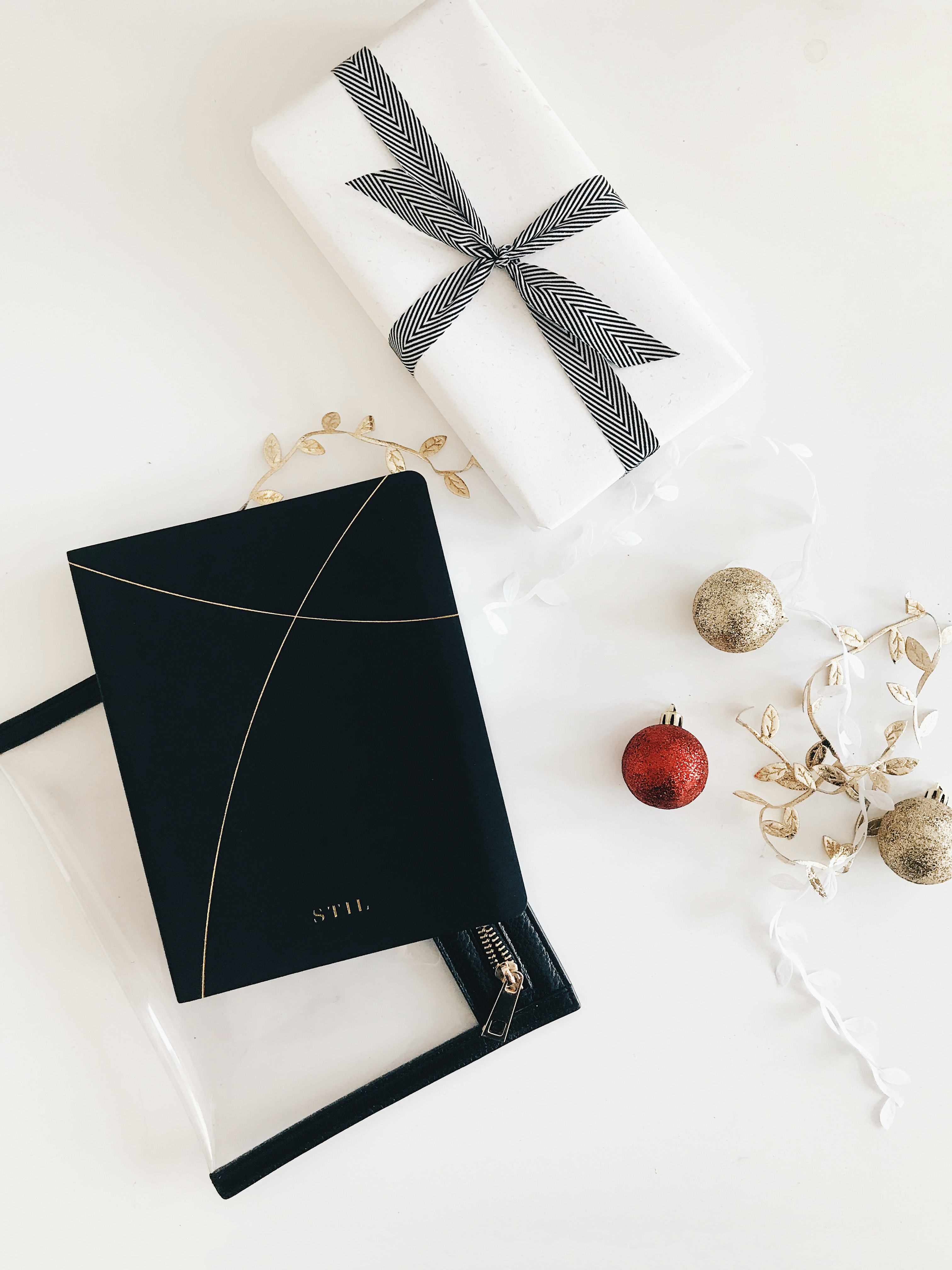 white box beside baubles