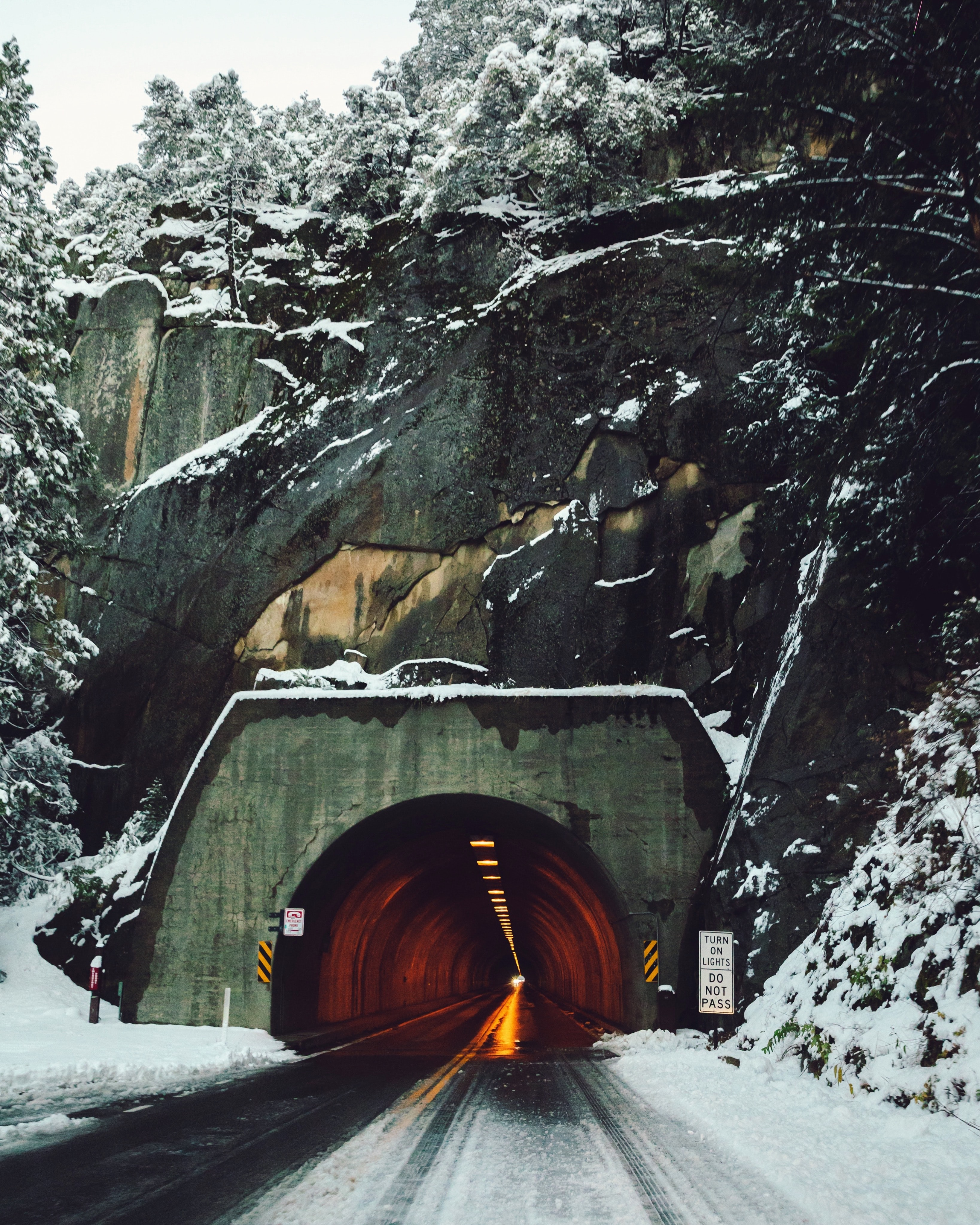 tunnel under mountain and trees