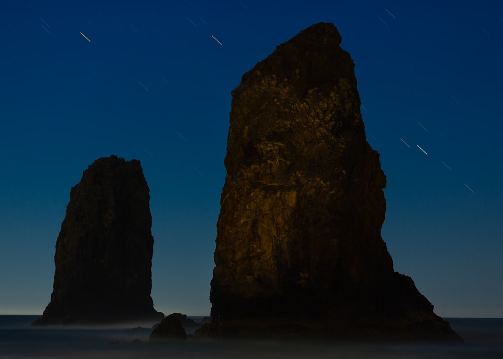 rock formation at night