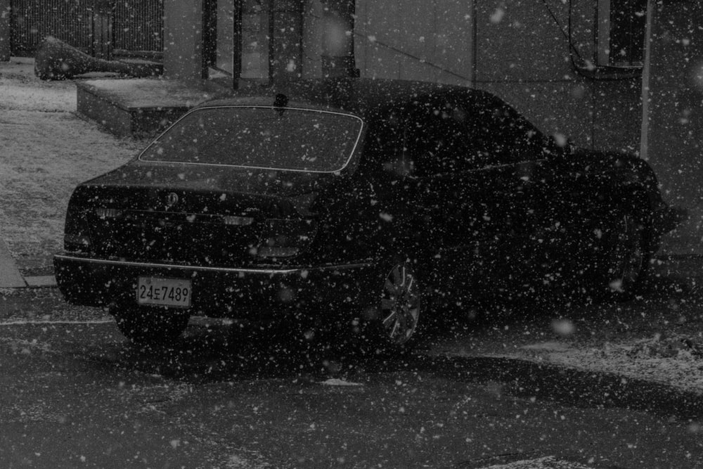black car parked during winter