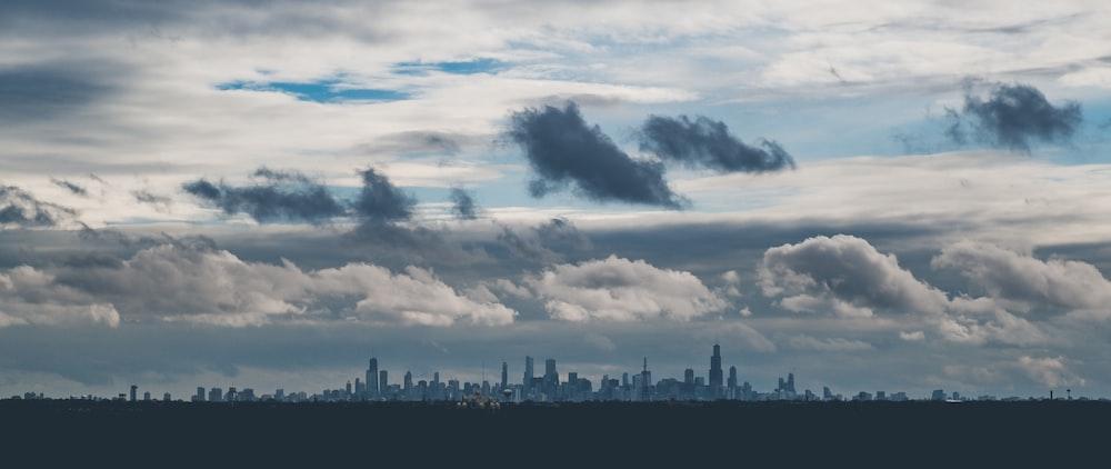 city escape under white clouds