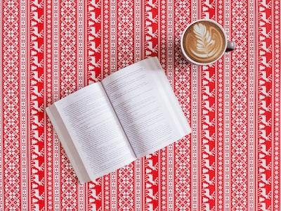 white ceramic mug christmas sweater zoom background