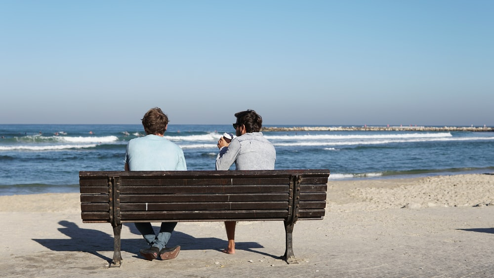 two men sitting on brown wooden bench on seashore