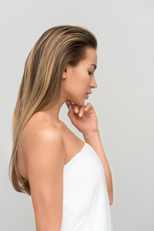 woman wearing white towel
