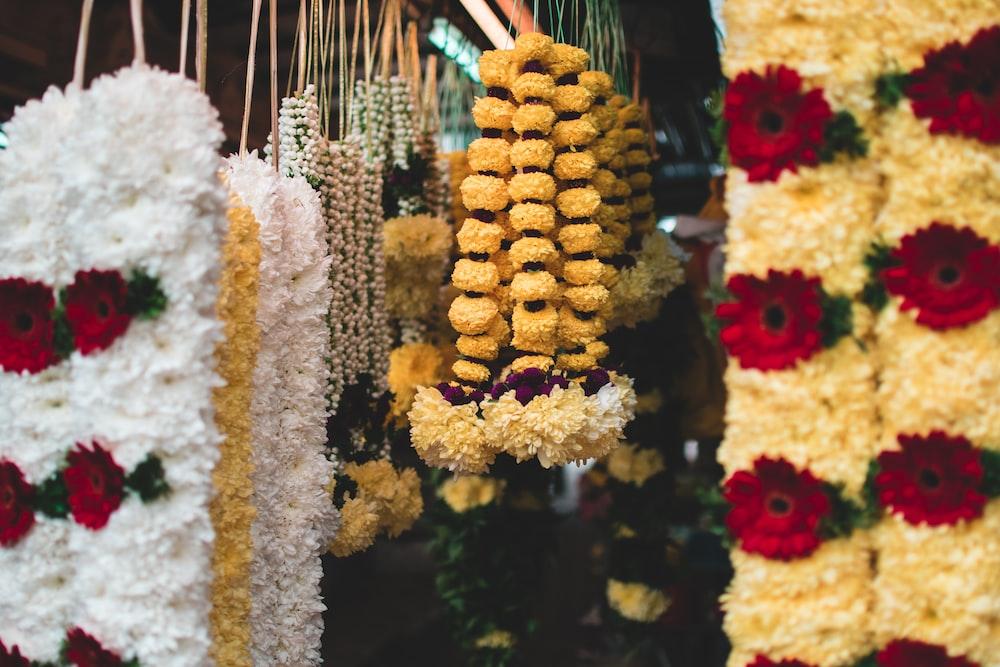 assorted-color floral necklaces