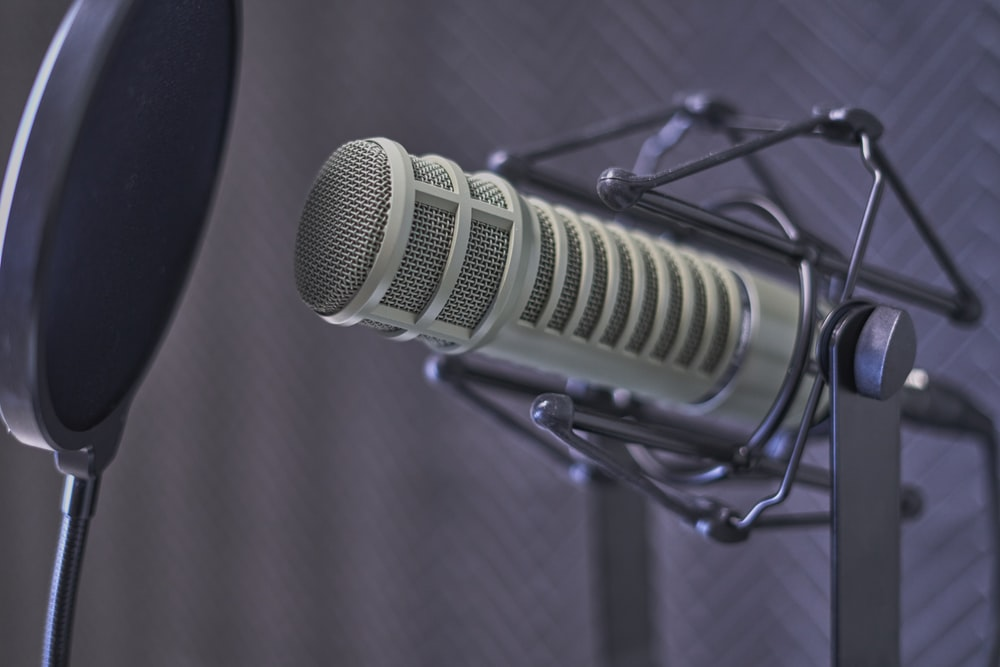 gray condenser microphone with pop filter