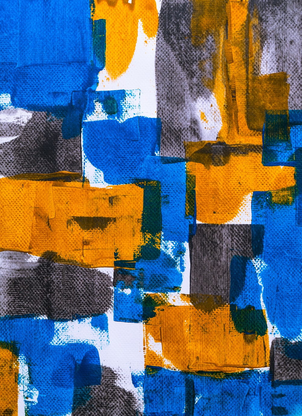 blue, orange, and gray abstract art