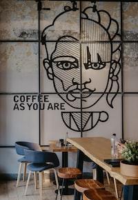 man and woman stencil decor