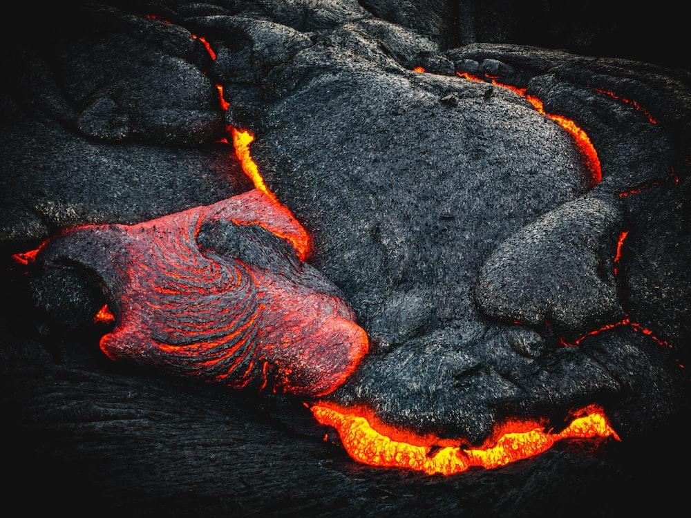 black and orange lava