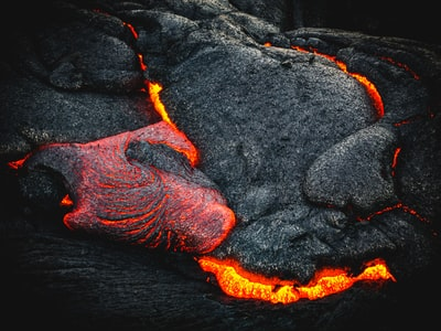 black and orange lava