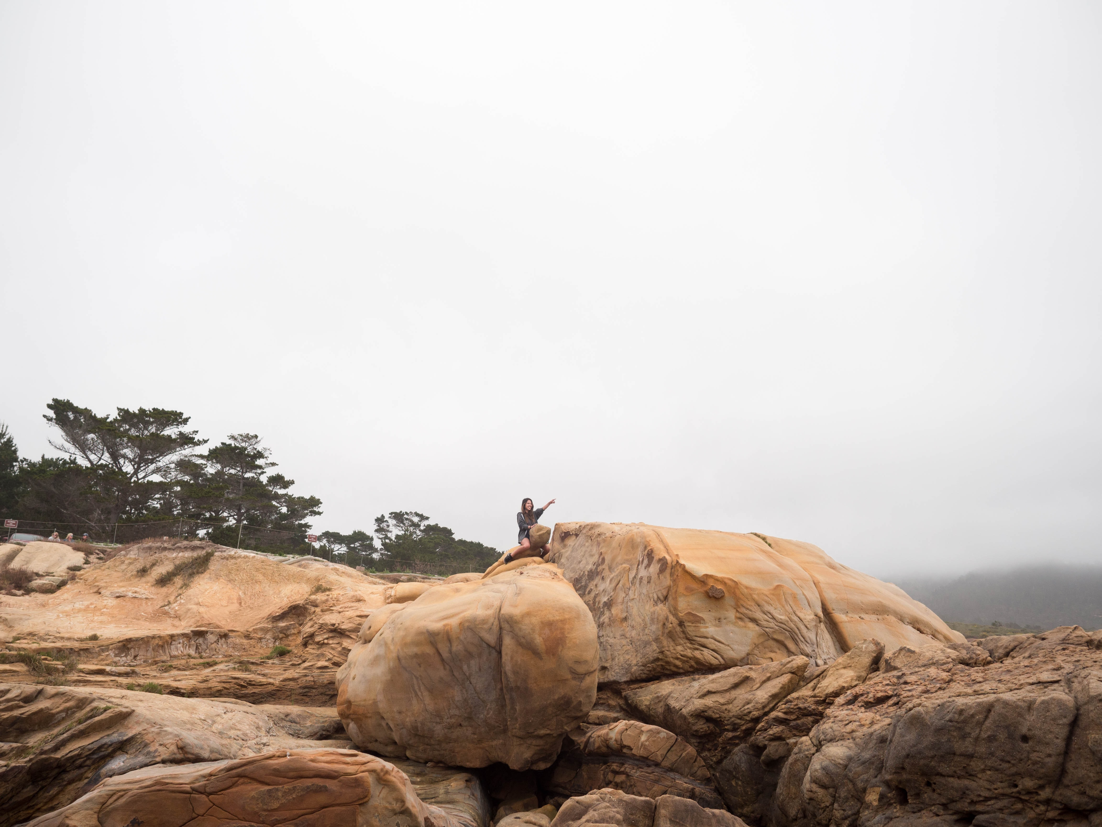 person sitting on brown rock