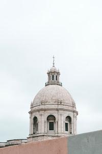 white dome church under white sky