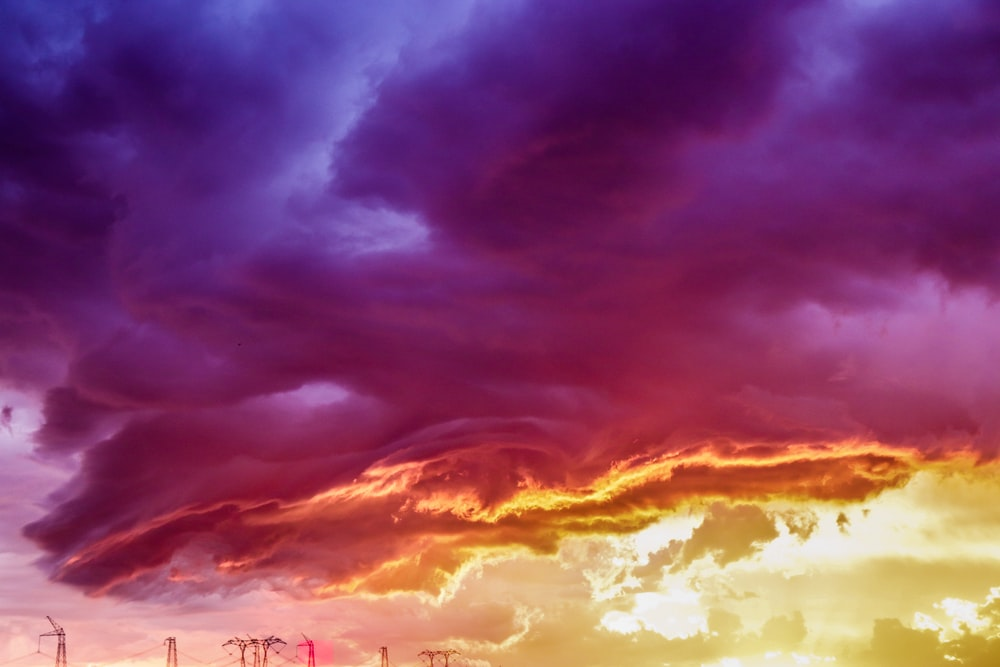 yellow and purple clouds