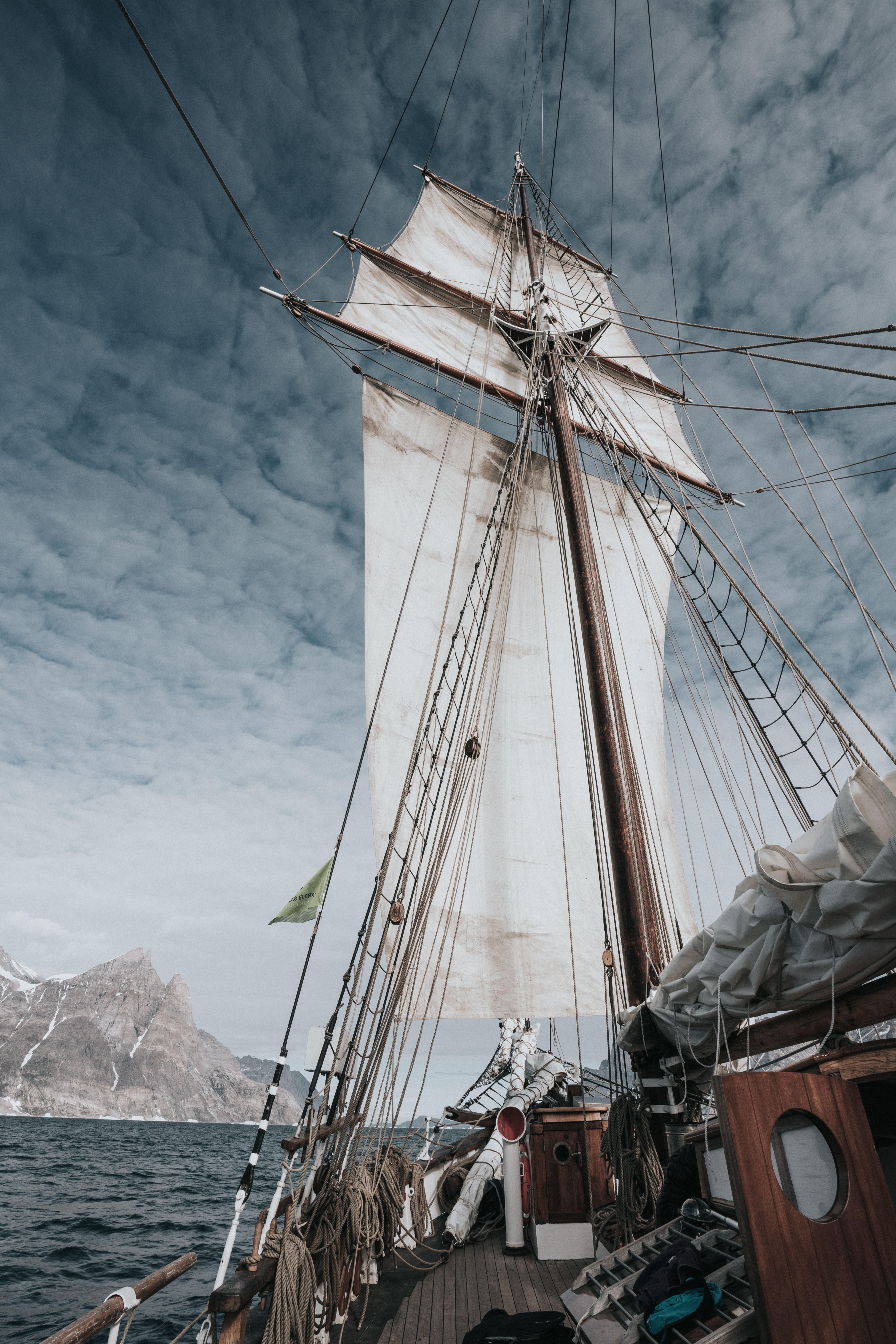 black and white sailing ship scale model