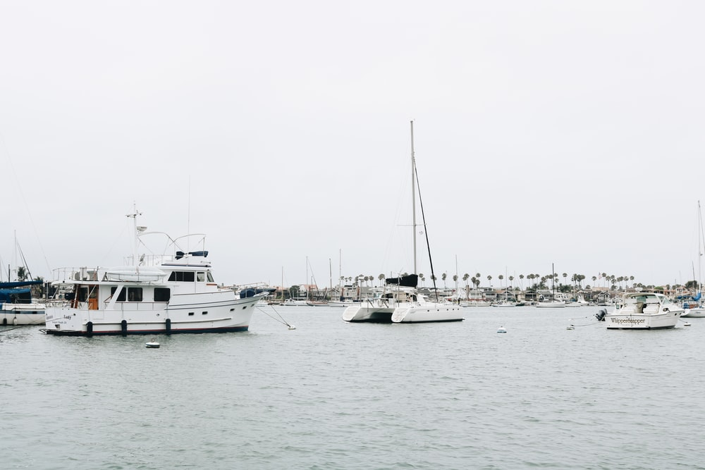 white sailboats