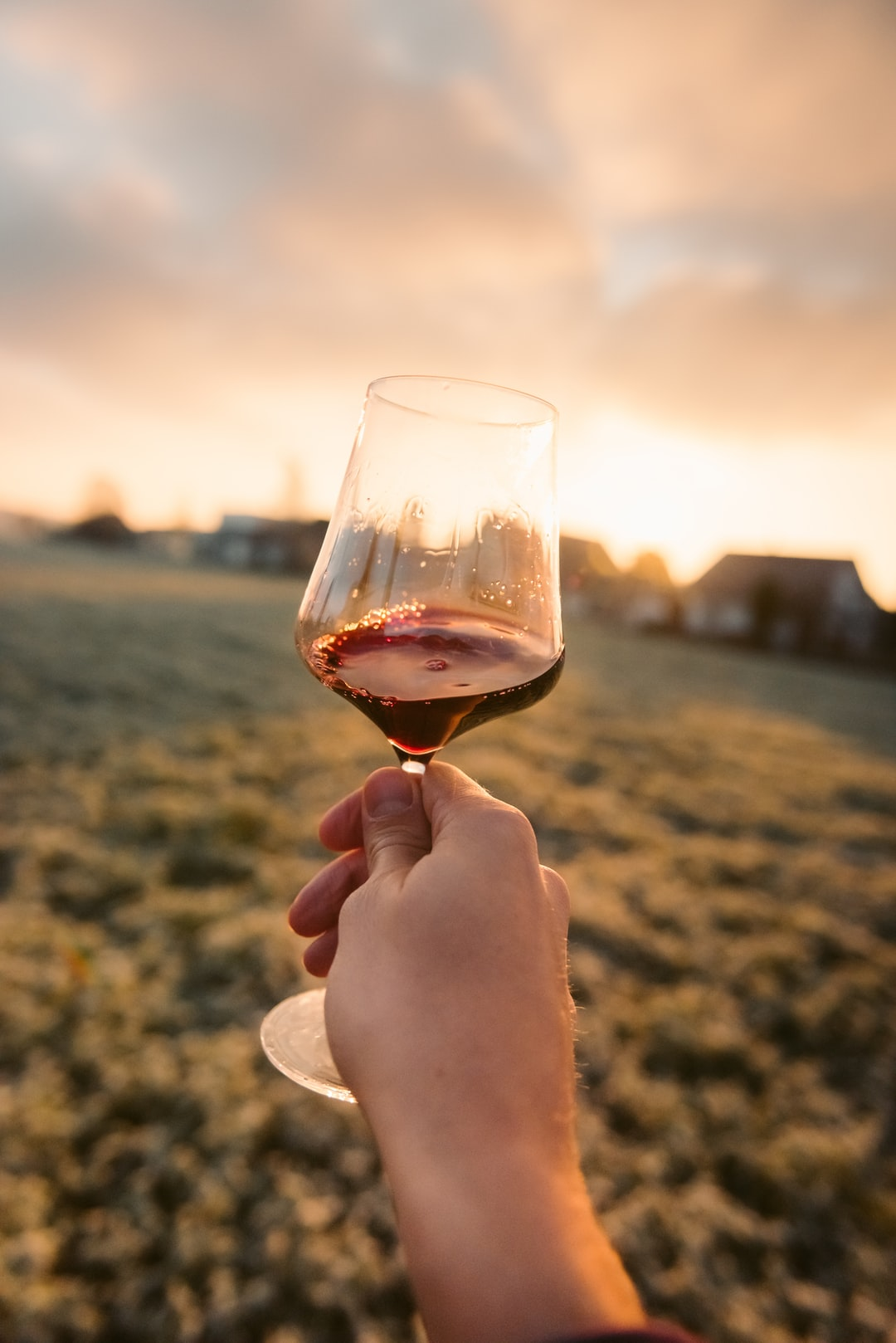 man holding a glass of red wine into the setting sun in beautiful light captured in point-of-view perspective
